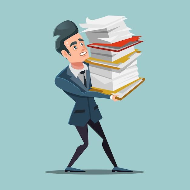Hombre de negocios con exceso de trabajo con enorme pila de documentos. trabajo de papeleo. Vector Premium