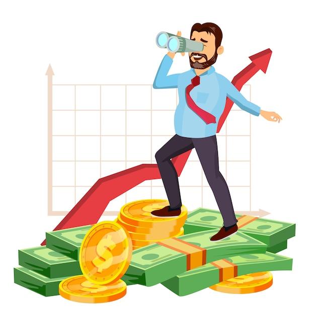 Hombre de negocios feliz Vector Premium