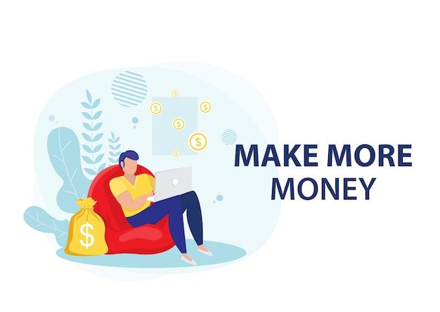Hombre de negocios ganando dinero de negocios en línea. concepto de negocio online. Vector Premium