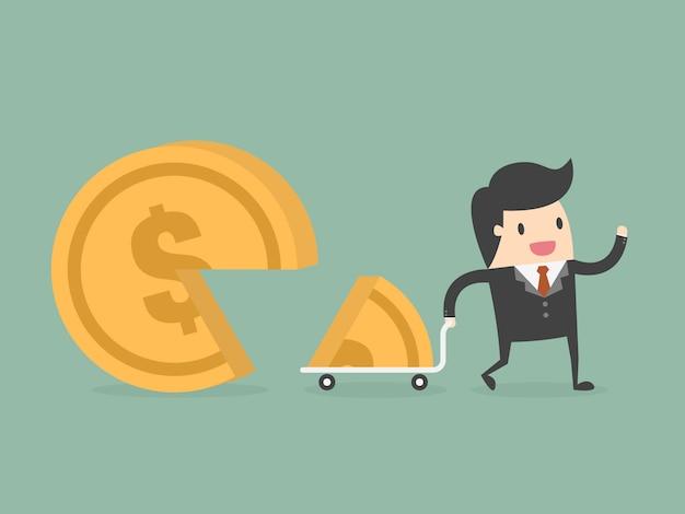 Hombre de negocios con una gran moneda vector gratuito