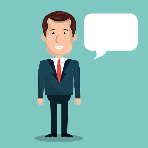 Hombre de negocios hablando vector gratuito