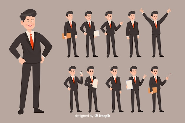 Hombre de negocios haciendo diferentes acciones vector gratuito