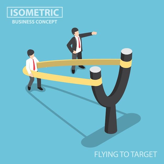 Hombre de negocios isométrico plano 3d preparándose para volar por catapulta de tirachinas en forma de y, puesta en marcha de negocios y concepto de desarrollo profesional Vector Premium