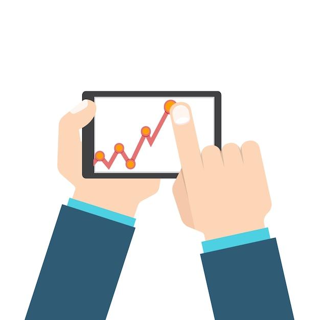 Hombre de negocios de la mano con tableta en gráfico de crecimiento de ganancias. Vector Premium