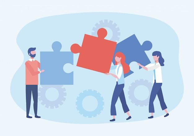 Hombre de negocios y mujeres de negocios con rompecabezas y conexión de engranajes. vector gratuito