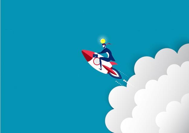El hombre de negocios pasa al vuelo de la luna en la mejora de lanzamiento de cohetes de velocidad de lanzamiento concepto de vector. Vector Premium