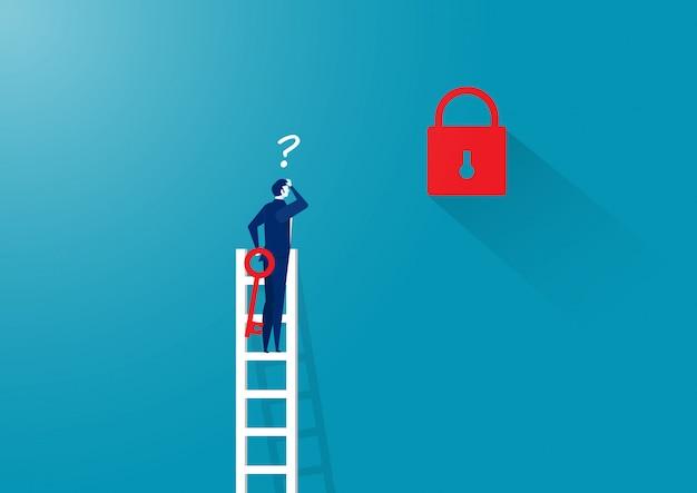 Hombre de negocios pensando desbloquear en la escalera lejos de la llave Vector Premium