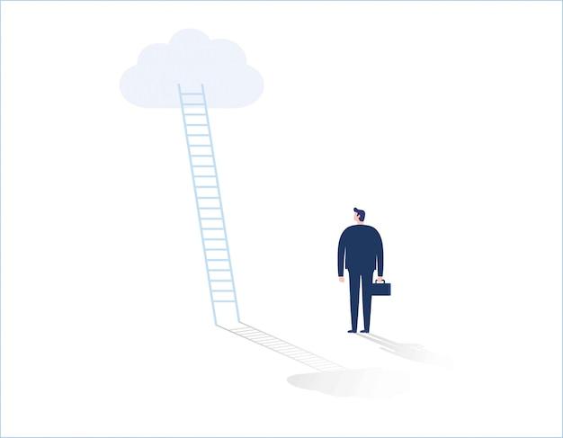 Hombre de negocios de pie delante de la escalera que conduce a la nube Vector Premium