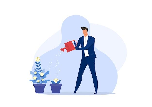 Hombre de negocios, planta de riego, dólares de oro, dinero, árbol, monedas, ilustración. Vector Premium