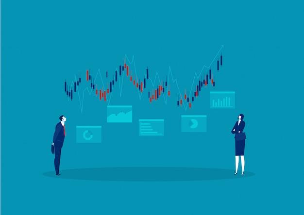 Hombre de negocios que busca el mercado de valores de gráfico creciente con un concepto de inversión de flecha Vector Premium