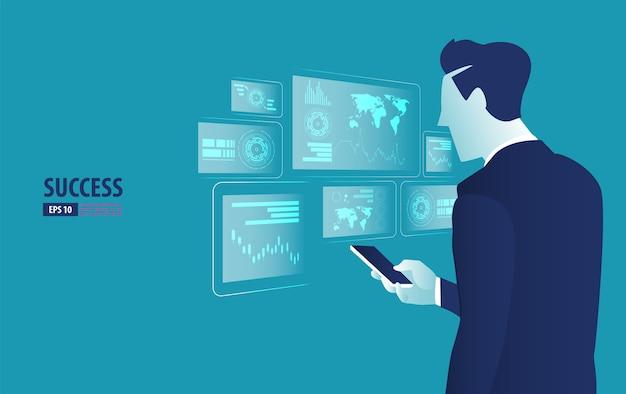 Hombre de negocios que controla la interfaz futurista del holograma con el teléfono inteligente Vector Premium