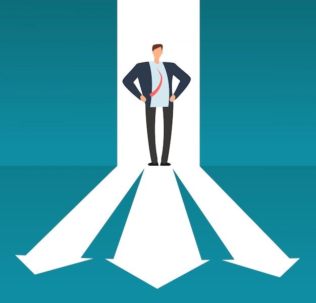 Hombre de negocios que mira camino con muchas direcciones. opción de negocio de éxito y concepto de vector de inversión risque Vector Premium