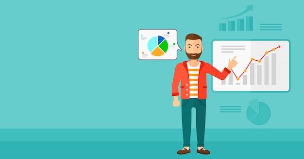 Hombre de negocios que presenta el informe. Vector Premium