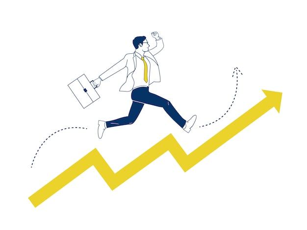 El hombre de negocios que salta para arriba en flecha. Vector Premium