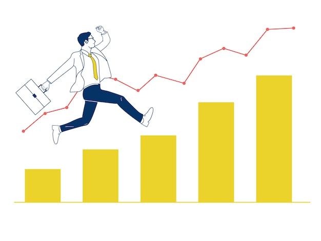 El hombre de negocios que salta para arriba en gráfico. Vector Premium