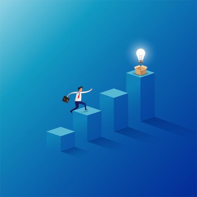 El hombre de negocios que salta a la parte superior del gráfico tiene una bombilla desde la caja de apertura. Vector Premium