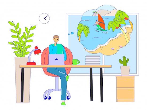 Hombre de negocios que sueña con vacaciones en el lugar de trabajo, ilustración. carácter trabajador sentado en el escritorio, piensa en relajarte Vector Premium