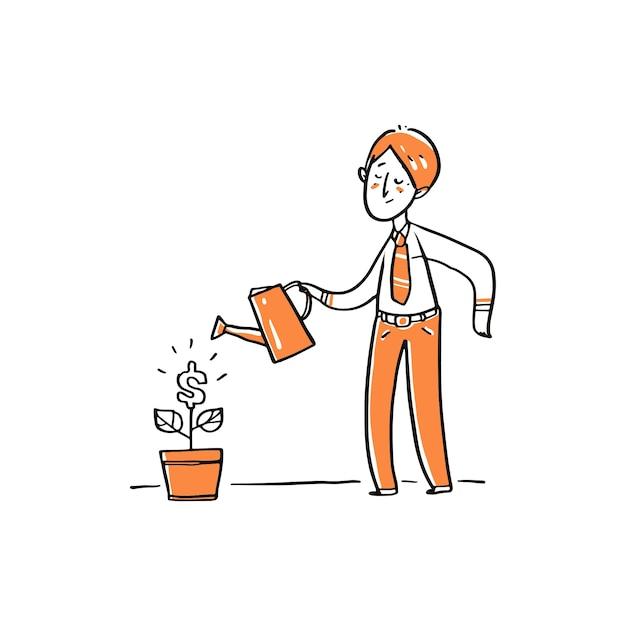 Un hombre de negocios regando el árbol del dinero. Vector Premium