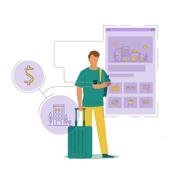Hombre de negocios en su teléfono y reserva de hotel vector gratuito