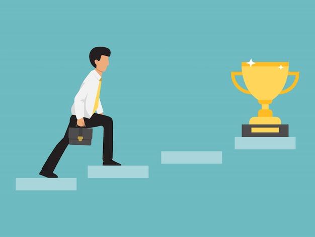 Hombre de negocios subir escaleras a la copa de oro. Vector Premium