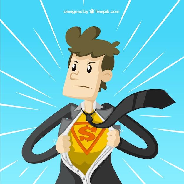 El hombre de negocios de superhéroe vector gratuito