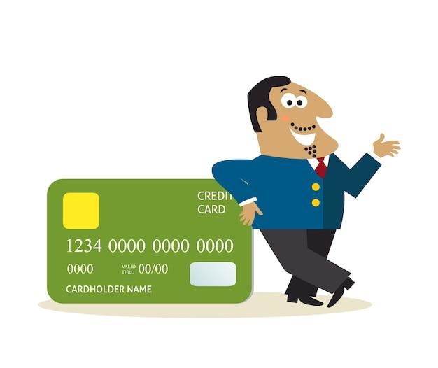 Hombre de negocios con tarjeta de crédito vector gratuito