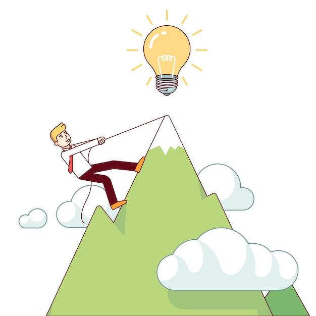 Hombre de negocios trabajando duro subir montaña vector gratuito