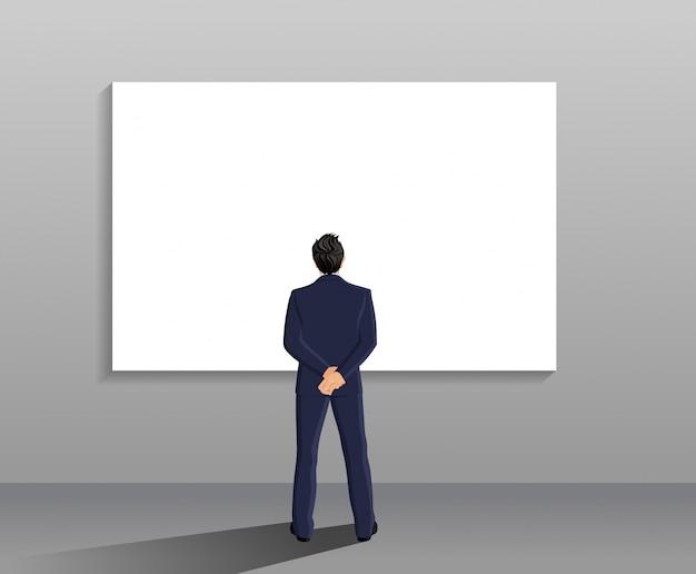 Hombre de negocios en traje de larga duración vista posterior en frente de la pizarra blanca ilustración vectorial vector gratuito