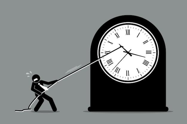Hombre de negocios tratando de detener el movimiento del reloj. Vector Premium