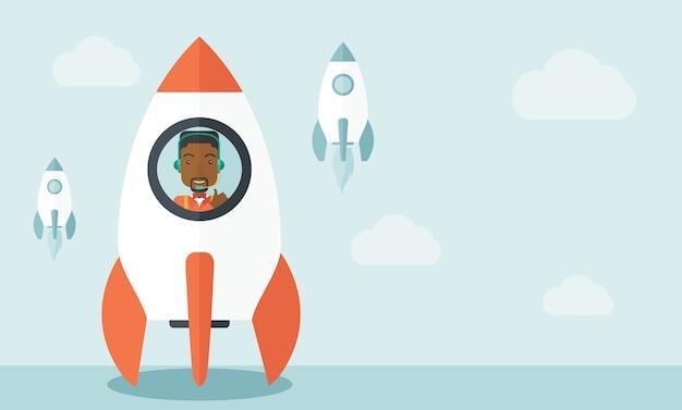 Hombre negro en el inicio de negocios en línea Vector Premium