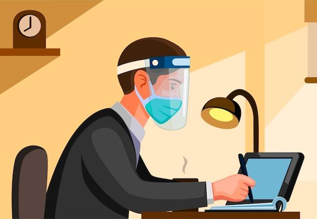 Hombre oficinista con máscara y careta de vista lateral. la gente trabaja y estudia en una nueva escena de actividad normal en la ilustración de dibujos animados con fondo Vector Premium