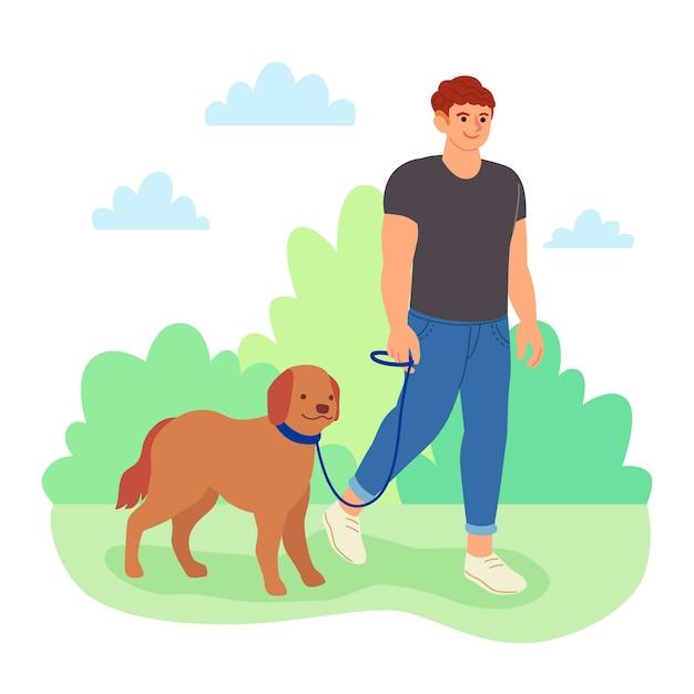 Hombre paseando a su perro vector gratuito