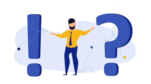 El hombre de la persona preguntó a la gente del ejemplo del concepto del signo de interrogación. Vector Premium