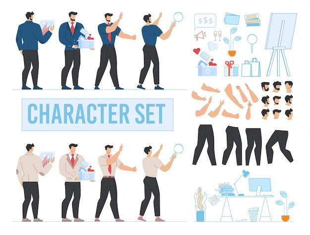 Hombre personaje animado, oficina y conjunto de accesorios Vector Premium