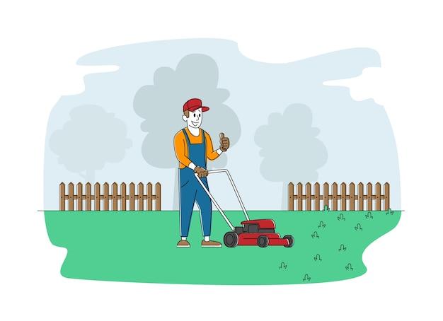 Hombre personaje cortar el césped en el jardín o parque público de la ciudad Vector Premium