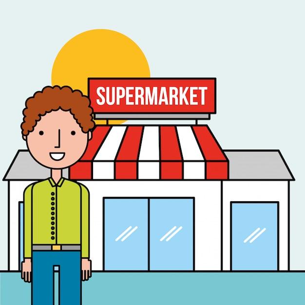 Hombre personaje parado frente supermercado Vector Premium