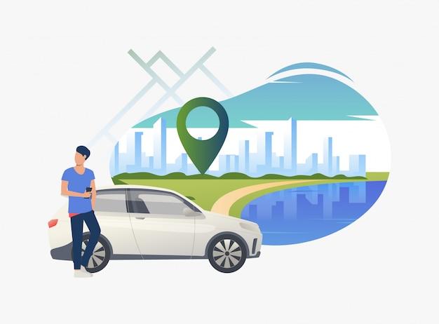 Hombre de pie en coche con paisaje urbano en el fondo vector gratuito