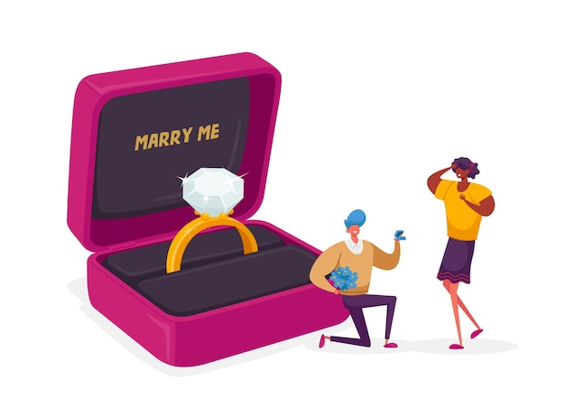 Hombre de pie sobre la rodilla sosteniendo el anillo en la caja haciendo propuesta a la mujer Vector Premium