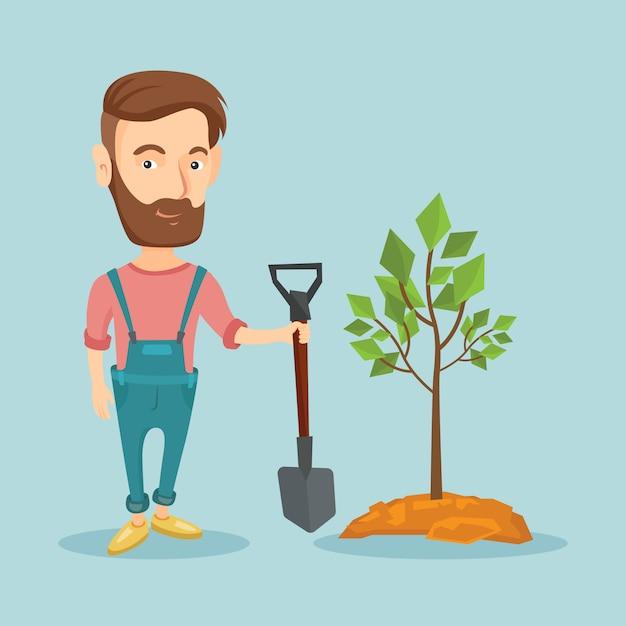 El hombre planta la ilustración del vector del árbol. Vector Premium