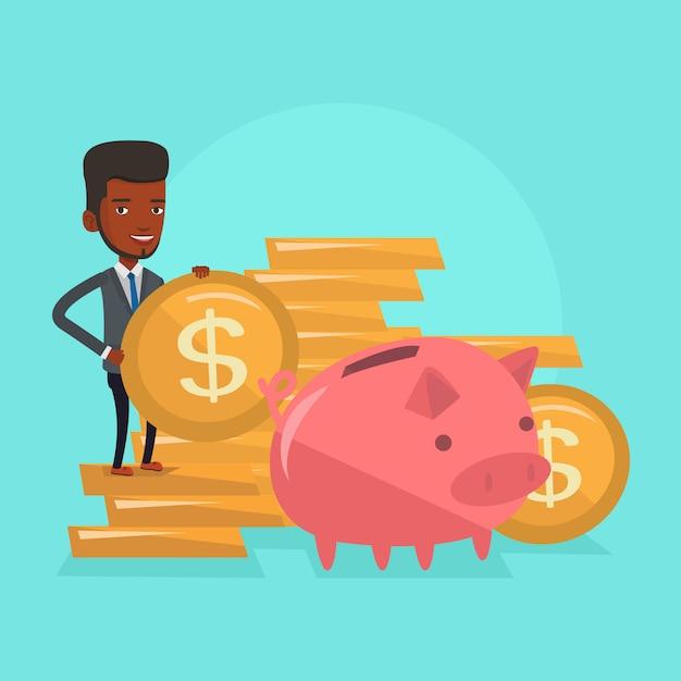 Hombre poniendo monedas en la ilustración de vector de hucha Vector Premium