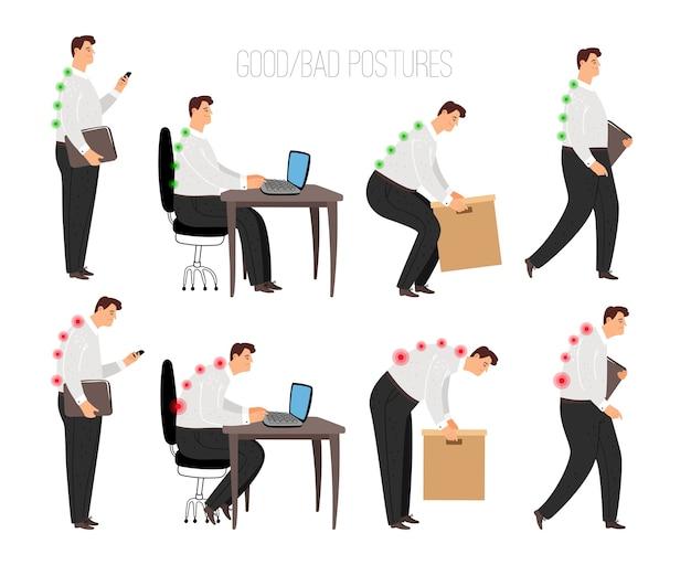 Hombre posturas incorrectas y correctas. posición sentada de la computadora portátil correctamente y levantamiento de objetos pesados, de pie y caminando correctamente concepto con carácter de persona masculina aislado sobre fondo blanco, vector Vector Premium