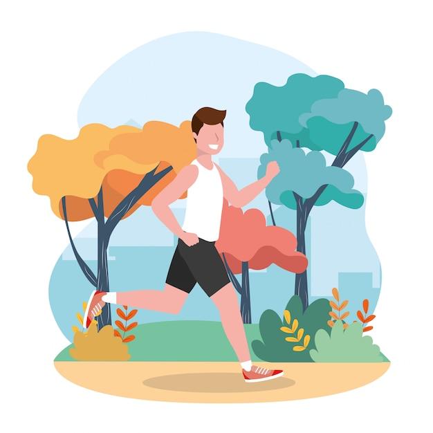 El hombre practica correr actividad de ejercicio Vector Premium