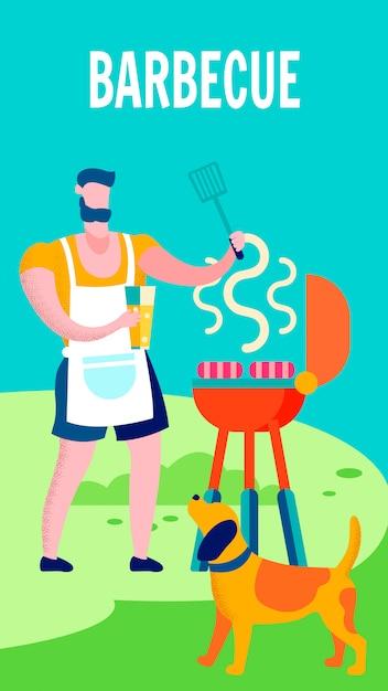 Hombre que cocina en la parrilla de barbacoa plana ilustración vectorial Vector Premium