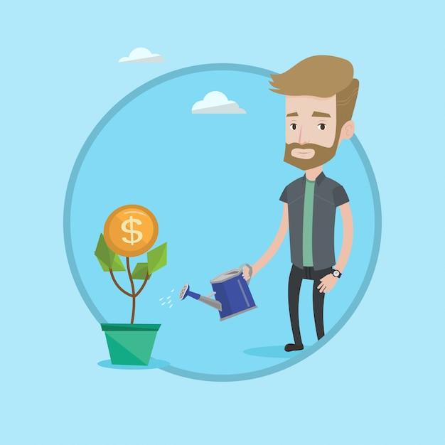 Hombre que riega la ilustración del vector de la flor del dinero. Vector Premium