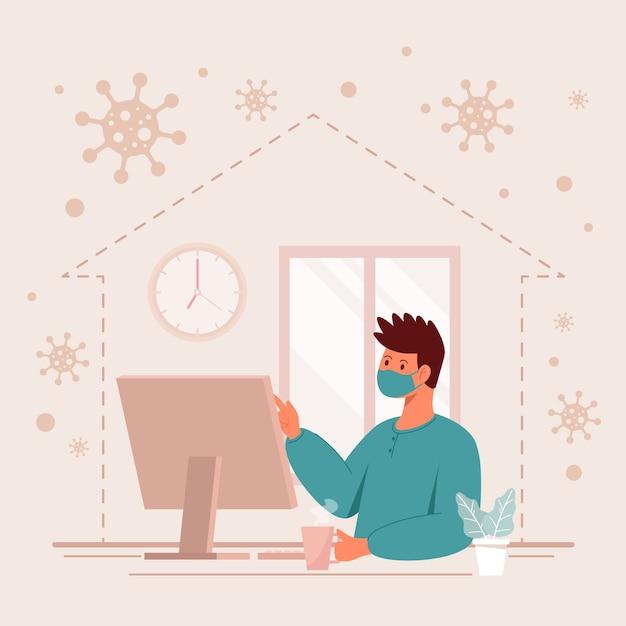 Hombre que trabaja desde el concepto de toque de queda en casa vector gratuito