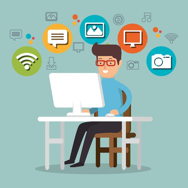 Hombre que trabaja con los iconos de redes sociales vector gratuito