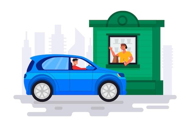 Hombre que va a una ventana de drive thru para conseguir comida vector gratuito