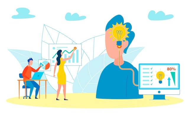 Hombre recordando seminarios, entrenamientos ilustración Vector Premium