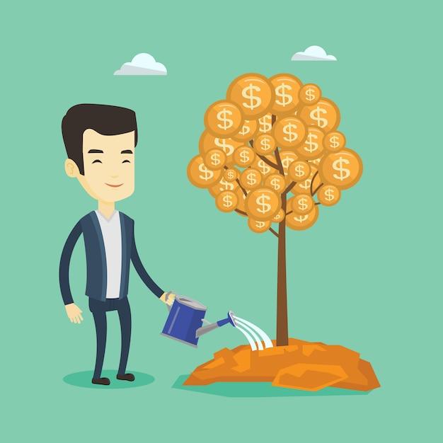 Hombre regando el árbol del dinero. Vector Premium