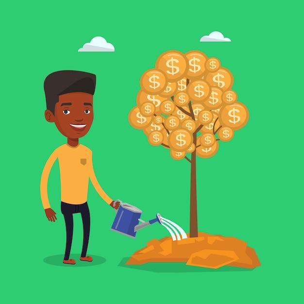 Hombre riego árbol financiero. Vector Premium